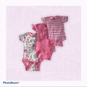 4 for $20//Pink Patterned Onesies (set of 3)